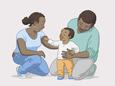 Пара с усыновленным ребенком