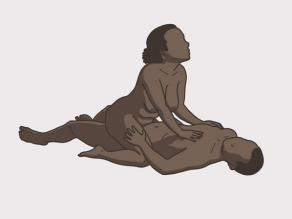 Sexual intercourse example 5: The woman sits on top of the man.