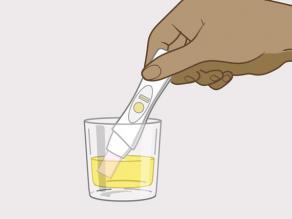 of u kunt het uiteinde van de zwangerschapstest in een schoon potje met een beetje van uw urine stoppen.