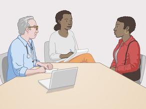 Tłumacz ustny tłumaczący rozmowę pracownika służby zdrowia oraz pacjenta.