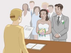 Un bărbat și o femeie care se căsătoresc la primărie