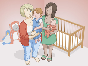 Lesbische Frauen mit ihren Kindern