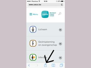 Surf naar Zanzu.nl en klik op het delen-icoon.